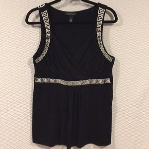 NWOT White H. Black M. Chic Sleeveless Top Size L